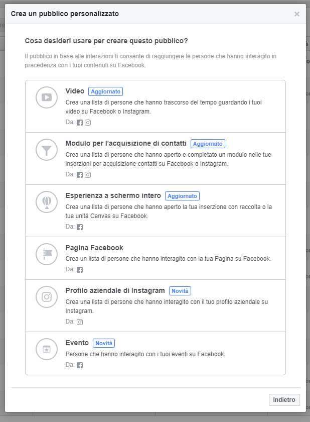 custom audience facebook interazioni